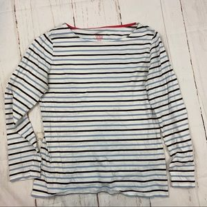 Boden blue and white striped long sleeve T-shirt